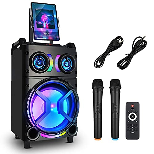 Karaoke Machine for Adults and Kids, GEBER Portable Bluetooth Singing PA Speaker System with 2 Wireless Dual Microphones + Disco Lights for Indoor & Outdoor Party, Best Birthday Gift for Boys & Girls