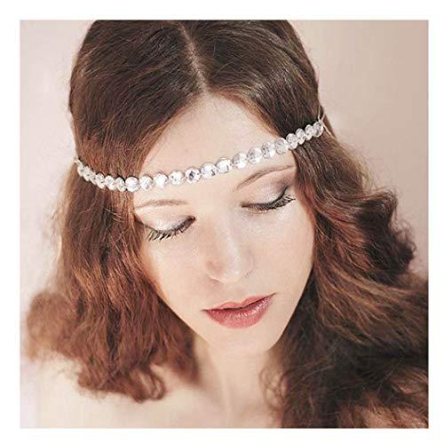 Fairvir Birdal - Cadena para la cabeza con diamantes de imitación para mujeres y niñas (oro)