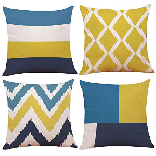 BCKAKQA Decorative Throw Pillow Case Geometric Cushion Covers 45cm x 45cm Blue Yellow Throw Pillow Covers 18 x 18 inch Linen Square Pillowcases Home Decor for Living Room Sofa Couch Set of 4