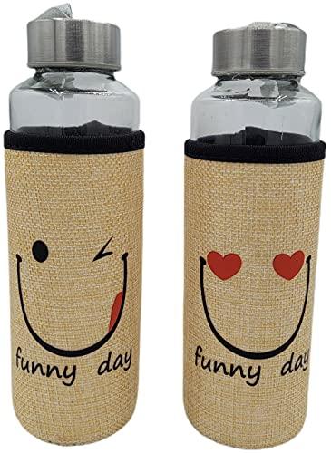 Botella Agua Cristal Con Funda Neopreno Pack 2 400 ml Color Beige Con Emoticonos Sin BPA | Motivacional para Deporte Gimnasio Reutilizable