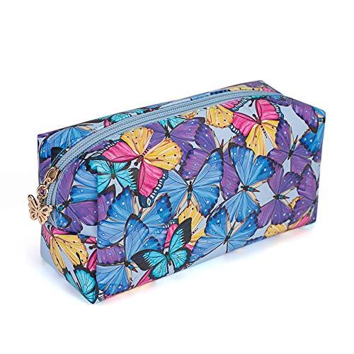 Bolsa de aseo cosmetica,para llevar maquillaje fundamental de bolsa de aseo portátil impermeable de bolsa de organizador viaje diaria organizador de artículos de aseo al aire libre,coloridas mariposas