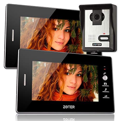 Soter sicurezza® Cavo 17,8cm pollici LCD videocitofono citofono 600TVL W monitor con 2ingresso kit sistema