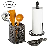 3 Piece Kitchen Counter Accessory Set, Cast Iron Paper Towel Holder, Utensil Holder, Spoon Rest,...