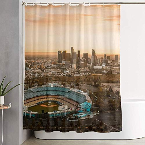 CdHBH Dodger Stadium Los Angeles Skyline Baseball Park Fans Gift Patterns Bathroom Shower Curtains Partition Curtains Decorate Home Durable Easy to Clean Waterproof Fabrics