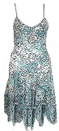 DIVA-MODE Damen Spaghettiträgerkleid Leo-Print Kleid Sommerkleid Mädchen Kleid (S, Blau)