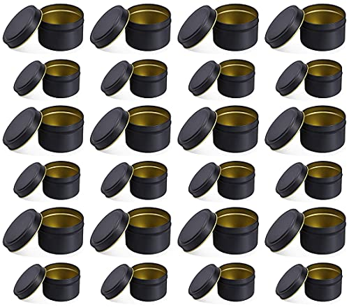 Candle Tin Cans with Lids | 12 Each of 8-oz & 4-oz Travel Tins | 24-Pack Candle Containers for DIY Candle Making (Black)