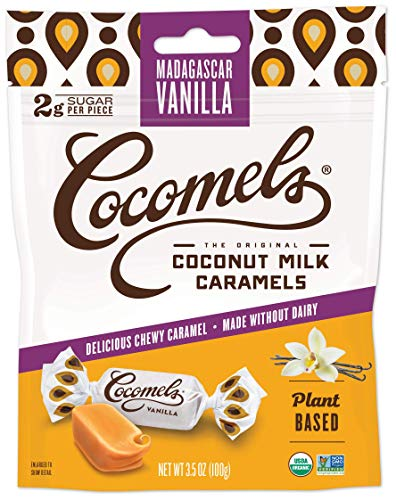 Cocomels Coconut Milk Caramels, Vanilla Flavor, Organic Candy, Dairy Free, Vegan, Gluten Free, Non-GMO, No High Fructose Corn Syrup, Kosher, Plant Based, (1 Pack)