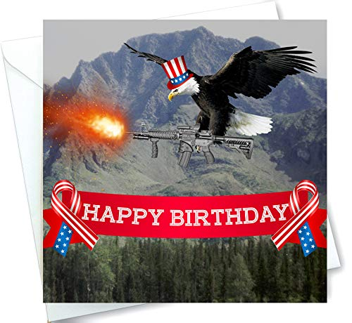 Patriotic American Bald Eagle Shooting Gun Funny Happy Birthday Card With Music And Sound Effects When Opened