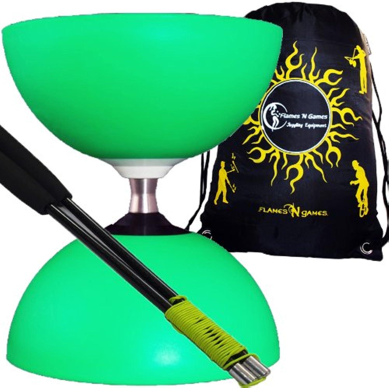 Henrys Diabolos  Circus  Free Hub Triple Bearing Diabolo (Green) +Pro CARBON Diabolo Handsticks +Fabric Diablo Travel Bag.