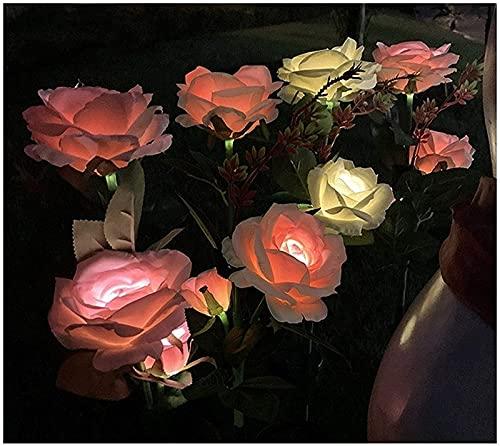 Słoneczne oświetlenie ogrodowe Zmieniające kolor Dekoracyjne oświetlenie krajobrazowe LED Zasilane energią słoneczną lampy różane do patio, trawnika, ogrodu, dekoracji podwórka (światła słoneczne r 4 sztuki) SKYJIE