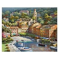数字油絵 大人の子供のための数字でペイントされている子供DIY手塗り油絵の街の風景写真ペイント家の装飾 (Color : 99291, Size(cm) : 50x65cm no frame)