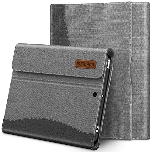 Infiland iPad Mini 5 Case, Multi-Angle Business Case Cover Pencil Holder with Built in Pocket for Apple iPad Mini 5 7.9-inch 2019 Release (Auto Wake/Sleep), Grey
