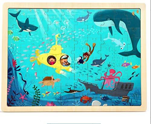 VIDOO 100Pcs DIY Jigsaw Puzzle Undersea World 23Cm Wooden Educational Developmental Learning Training Training Training Toy