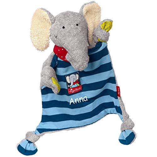 Sigikid Schnuffeltuch Elefant mit Namen Bestickt, Baby & Kinder Schmusetuch personalisiert, Kuscheltuch Geschenkidee Mädchen / Jungen, Lolo Lombardo, Blau, 48935