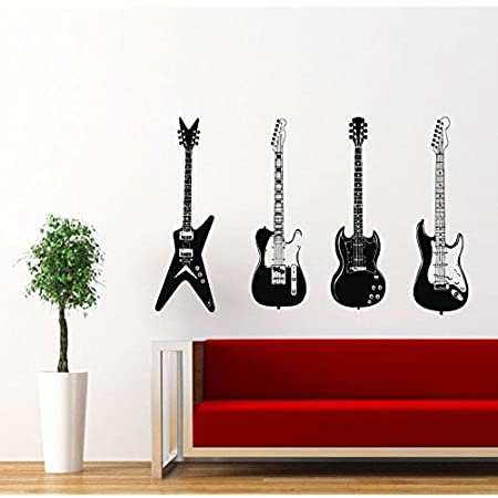 Four Guitars Musical Instrument Decor Recording Music Studio Wall Vinyl Decal Art Sticker Home Interior Decor For Any Room Smooth And Flat Surfaces Murals Design Graphic Bedroom Living Room 4062 Amazon Com