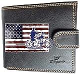 Syl'la Bandera de Estados Unidos Harley - Cartera pequeña con solapa, para hombre, color negro
