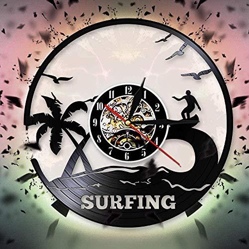 Deportes acuáticos al Aire Libre Hora de Verano Reloj de Pared de Surf Diseño Moderno Reloj de Pared con Disco de Vinilo de Windsurf Regalo para Amantes del Surf - Sin luz LED