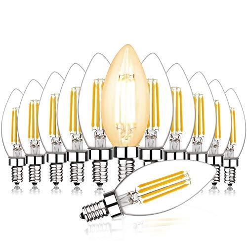 Svater Bombillas Vela de Filamento LED E14 Edison Estilo Vendimia Blanco Cálido 2700K 450 Lúmenes 4W Equivalente 40W Incandescente No Regulable Pack de 12 [Clase de eficiencia energética A+]