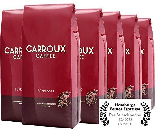 CARROUX Kaffeebohnen Espresso (6x 1kg) - Feinster Premium Kaffee - Für Kaffeevollautomat u. Siebträgermaschine - Ganze Bohnen frisch geröstet