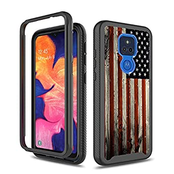 GMJzzx for Moto G Play 2021 Case,Red Wood American Flag Rugged Shockproof Hybrid Full Body Hard Plastic & Soft TPU Protective Case Cover for Motorola Moto G Play 2021,Red Wood USA Flag