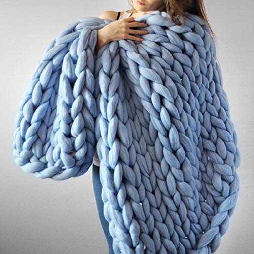 EASTSURE Chunky Knit Blanket Bulky Throw Merino Wool Hand Made Bed Sofa Throw Super Large,Sky Blue,40'x59'