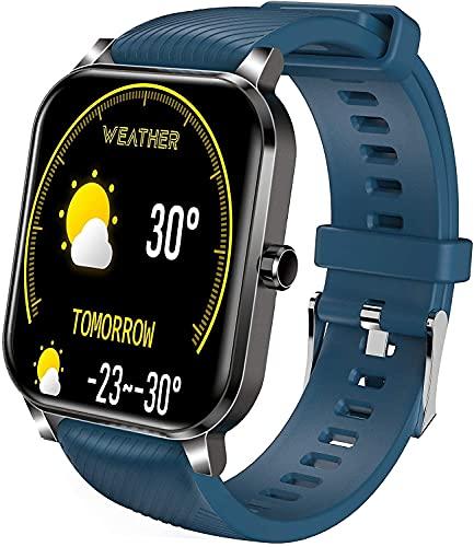 YQCH Smart Watch Compatible con teléfonos Android e iOS SmartWatches con Monitor de Ritmo cardíaco Fitness Tracker para Hombres Mujeres IP68 Reloj Digital Impermeable con podómetro (Color : Blue)