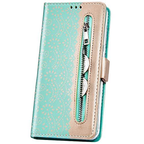 JAWSEU Samsung Galaxy J7 2016 Coque Pochette Portefeuille Dentelle Fleur Housse Etui à Rabat Cuir Stand Magnétique Flip Wallet Case avec Fentes de Carte pour Galaxy J7 2016,Vert