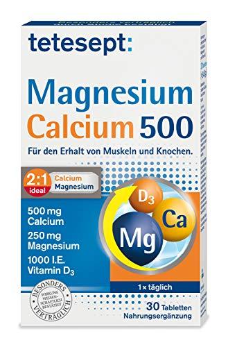 tetesept Magnesium Calcium 500 – Nahrungsergänzungsmittel für den Erhalt von Muskeln und Knochen – 1 x 30 Tabletten