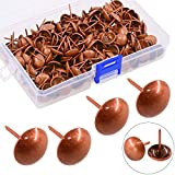 Hilitchi 200-Pieces 9/16'' (14mm) Upholstery Tacks for Furniture, Upholstery Furniture Nails Pins Assortment Kit for Sofa & headboards, Thumb Tack Push Pins (Red Copper)