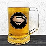 Superman Glass Beer Mug - DC Comics Gift - Groomsman Beer Stein - Gift For Him - Personalized Beer Mug Glass - Gift For Men Who Have Everything