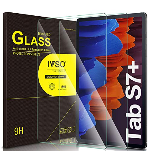 IVSO Pellicola Protettiva per Samsung Galaxy Tab S7+ Tab S7 Plus, per Samsung Galaxy Tab S7+ 12.4 Pellicola, Pellicola Protettiva in Vetro Temperato per Samsung Galaxy Tab S7+ 12.4 2020, 2 Pack