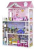 Puppenhaus ERDBEERENVILLA Aufzug Puppenvilla groß 123 cm+Möbel ECOTOYS 3 Etagen