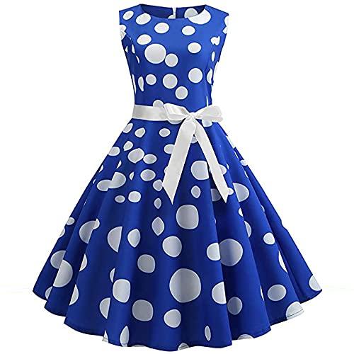 Vestido vintage para mujer, de cóctel, sin mangas, con estampado de lunares, rockabilly y falda plisada. azul M