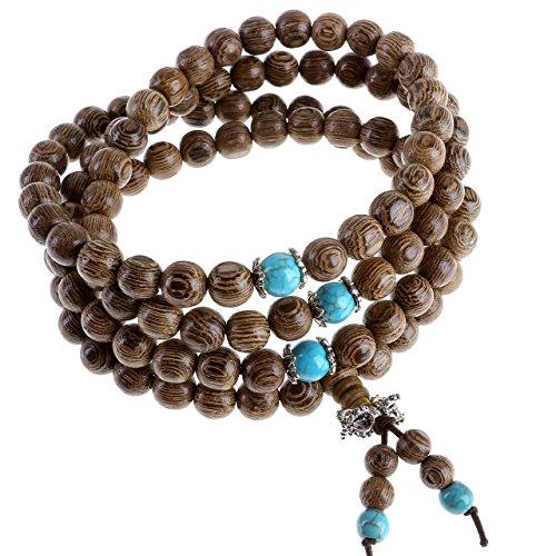 Jovivi Gioiello Collana Bracciale Elastico, 8 mm-108 Perline in Legno da Uomo Donna, Tibetano Buddista Mala Cinese Preghiera Yoga Meditazione Marrone e Azzurro