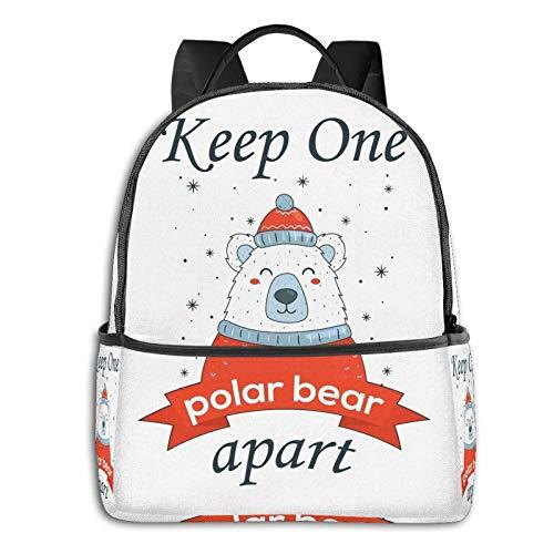 Keep One Bear Apart Polar Bear Funny Christmas Coronavirus Joke 2020 Student School Bag School Cycling Leisure Travel Camping Outdoor Backpack