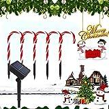 ADLOASHLOU 2 Juegos de 10 Piezas Luces Solar de Camino de Navidad, Luces Solar de Bastón de Caramelo Marcadores de Camino de Blanco Cálido Luces de Navidad LED Luz de Solar para Decoración Navideña