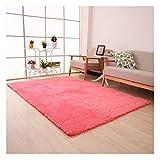 XiinxiGo Alfombra Shaggy de Pelo Alto Y Largo Pastel para Habitación Lavable Decorativo Suave Superficie,Rojo,80 * 200 CM