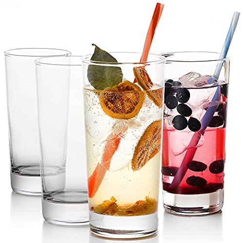 GoodGlassware Highball Glasses (Set of 4) 13.5 oz - Tall Drinking Glass with Heavy Base - for Water, Juice, Cocktails, and Beverages - Lead Free, Dishwasher Safe, Perfect for Kitchen & Bar