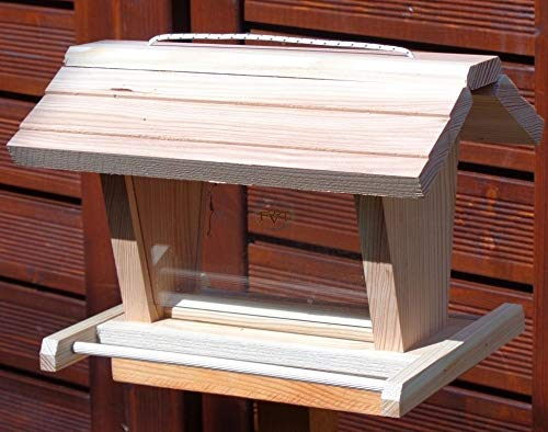 vogelhaus mit ständer BTV-X-VOFU2G-MS-natur001 NEU PREMIUM Vogelhaus mit ständer, 3D-SILO – VOGELFUTTERHAUS MIT 2 GROSSEN SICHTSCHEIBEN Qualität Schreinerware 100% Massivholz – VOGELFUTTERHAUS MIT FUTTERSCHACHT-Futtersilo Futterstation Farbe natur, Ausführung Naturholz, mit KLARSICHT-Scheibe zur Füllstandkontrolle - 3