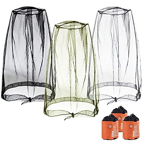 GCOA 3 Pack Filet de Tête de Moustique,Filet de Visage,Mosquito Head Net Mesh, Couvre Masque maillé pour Les Amateurs de Plein air à Contre Les moustiques + Porter des Sacs (Noir, Gris, Vert armée