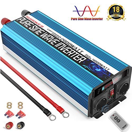 SUDOKEJI Reiner Sinus Wechselrichter Spannungswandler 12v 230v 2000w 4000w mit LCD-Bildschirm Geeignet für Laptops,Kühlschrank Und andere kleine Geräte
