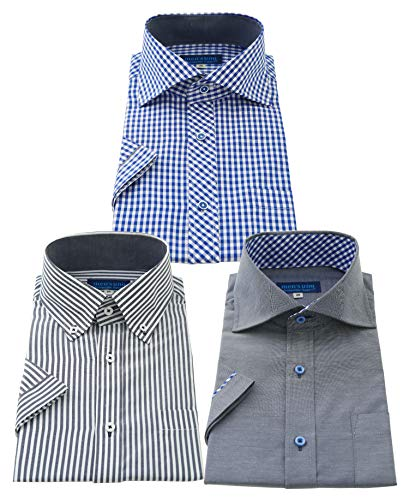 men's uno(メンズウーノ) 半袖ワイシャツ 3枚セット メンズ 形態安定 ufs 033-L