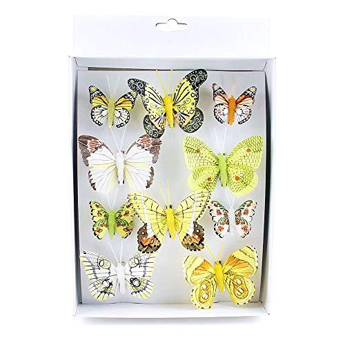 TGG 10 Stück Schmetterlinge Mix mit Clip, 2 Größen Sortiment bunt, Feder !!!