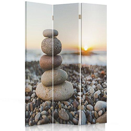 Feeby Frames Paravent déco Impression 1 Face 3 pans Galets Gris 110x150 cm