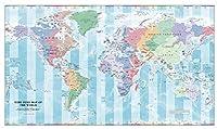 Time Zone 世界地図 - 41インチ x 24.5インチ マットプラスチック