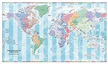 Time Zone Wall Map of The World - 40.25  x 23.5  Laminated