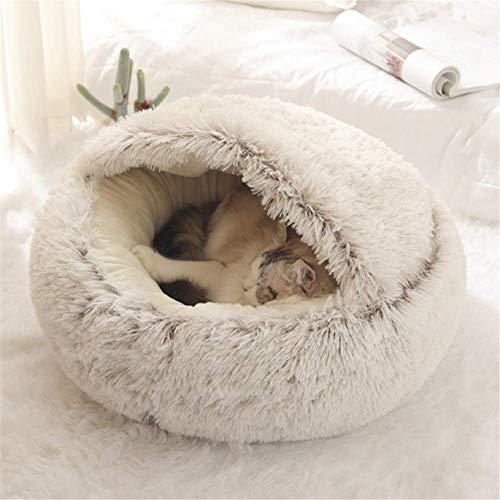 Yanman Katzenhöhle Katzen 2 in 1 Faltbar Katzenbett Pet Nest Schlafsack Haustier Flauschige Katzensofa Rund weiches Katzenkissen für Katzen/Welpen