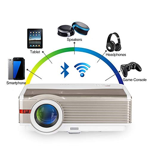 5000 Lumen WXGA Android LCD Smart HD Wireless Video Proiettore con WiFi Bluetooth, LED 1080P Home Movie Game Proiettori HDMI USB VGA AV Audio per iPhone iPad Mac TV PC DVD XBOX PS4 portatile esterno