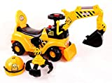 Ricco® Spielzeug-Bagger, 2in 1, zum Selberfahren, Bulldozer mit Helm