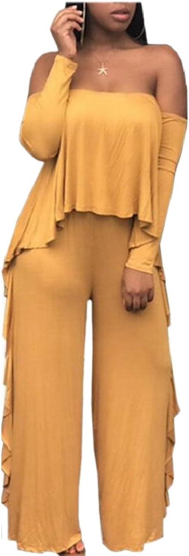 HTOOHTOOH Womens Off Shoulder Long Sleeve Ruffle Wide Leg Long Jumpsuit